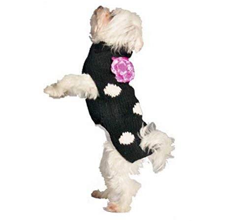 Chilly Dog Black Polka Dot Flower Sweater
