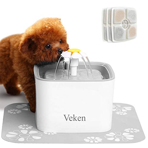 Veken Pet Fountain, 84oz/2.5L Automatic Cat Water Fountain Dog Water Dispenser with 3 Replacement...