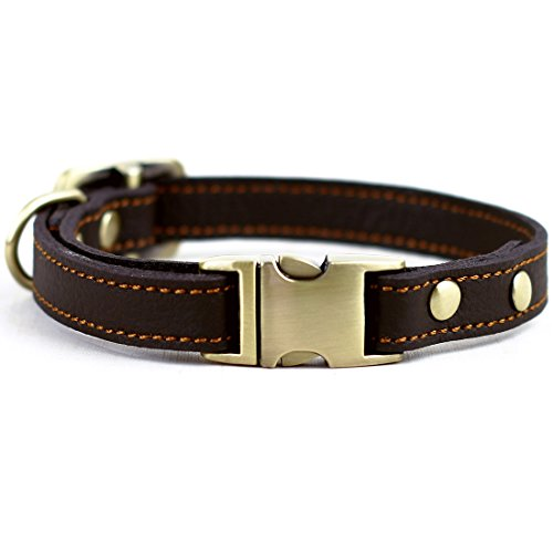 Chede Luxury Handmade Real Leather Dog Collar