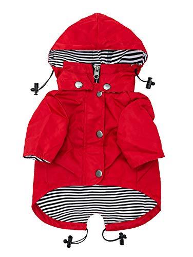Ellie Dog Wear Red Zip Up Dog Raincoat