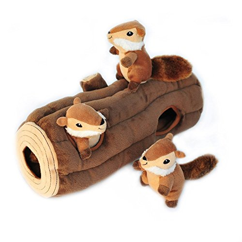 ZippyPaws - Woodland Friends Burrow, Interactive Squeaky Hide and Seek Plush Dog Toy - Chipmunks...