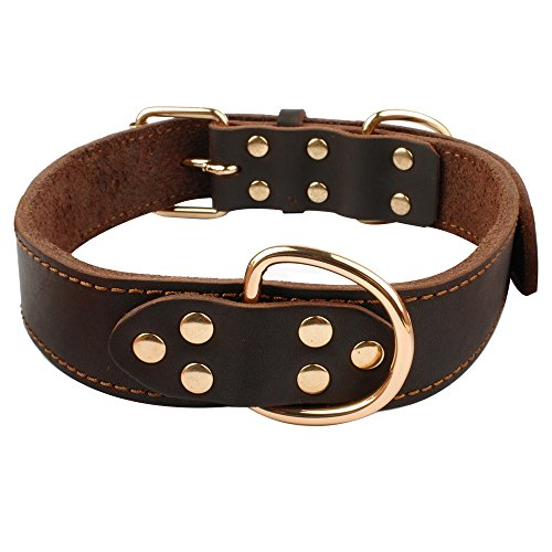 Beirui Soft Brown Leather Dog Collar