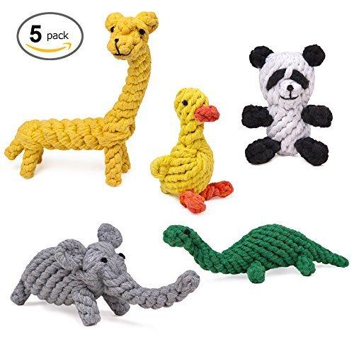 Animal Design Cotton Rope Dog Toys (Set of 5)