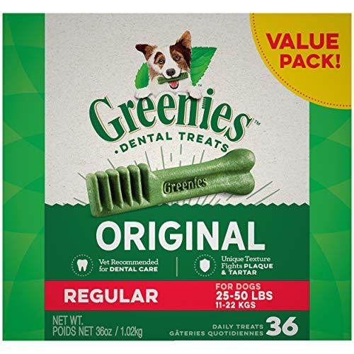GREENIES Original Regular Natural Dog Dental Care Chews Oral Health Dog Treats, 36 oz. Pack (36...