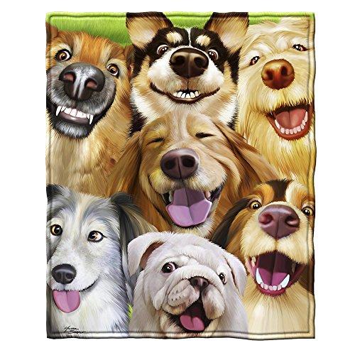 Dawhud Direct Dogs Selfie Fleece Throw Blanket